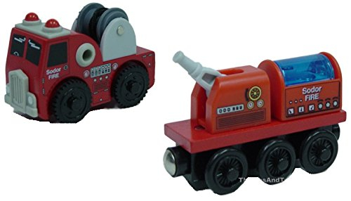 Thomas Wooden Railway - Fire Brigade Truck AND Train - Loose Brand New (Roll And Whistle Emily compare prices)