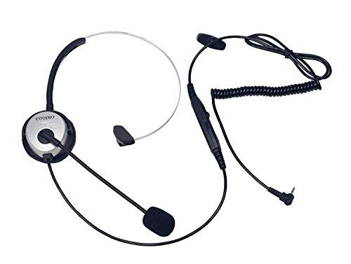 Coodio Telefono Cordless DECT Cuffia [interruttore mute] [Controllo del Volume] 2,5mm Auricolare Con Microfono [Cancellazione del Rumore] Per Panasonic Gigaset Telefoni Cordless DECT, d'argento