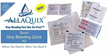 Scout Stop Bleeding Quick Kit - Compact Lightweight First-Aid Kit with 2 AllaQuix Stop Bleeding Gauz