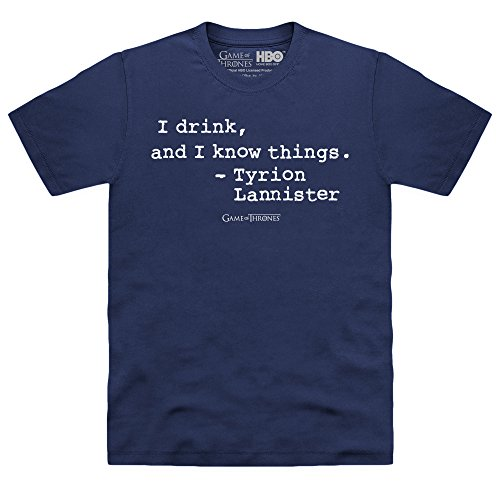 Official Game Of Thrones I Drink Quote T-shirt, Uomo, Blu navy, XL
