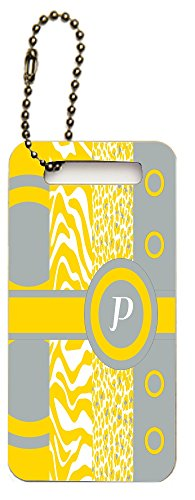 Rikki Knighttm Letter P Monogrammed Initial Freesia Yellow - Animal Prints Leopard Zebra - Spring Fashion Colors 2014 - Design Luggage Tags (Set Of 4)