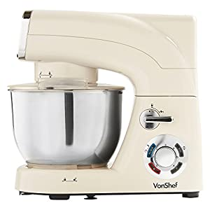 VonShef Stand Mixer, 5.5 Litre, 1200W, Cream - Silicone Beater, Balloon Whisk, Dough Hook, Dust Cover & Splash Guard from VonShef