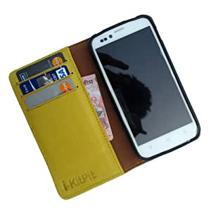 i-KitPit Genuine Leather Wallet Flip Case For iBall Andi 5 M8 (YELLOW)
