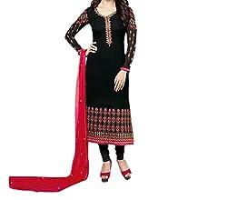 Paridhan Women's Georgette Unstitched Suit (SRPR 3572_Black_Free Size)