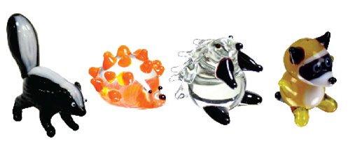 Looking Glass Miniature Collectible - Skunk / Hedgehog / Porcupine / Raccoon (4-Pack)