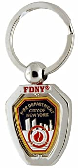 FDNY SILVER SHIELD SPIN KEY CHAIN