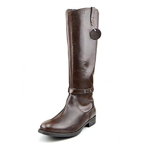 Kick-Scarpe da donna, al ginocchio, suola piatta, in vera pelle, Marrone (marrone), 36 EU