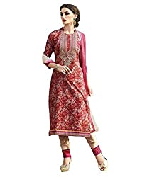 Red and multicolored digital print, glace cotton printed material with embroidery for elegant office wear