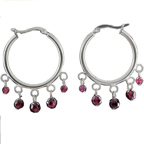 Sterling Silver Click Top Garnet Stone Hoop Earrings