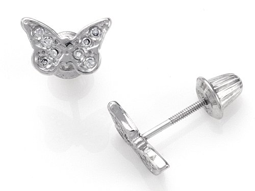 925 Sterling Silver Childrens Butterfly Earrings with White CZ's LIFETIME WARRANTY