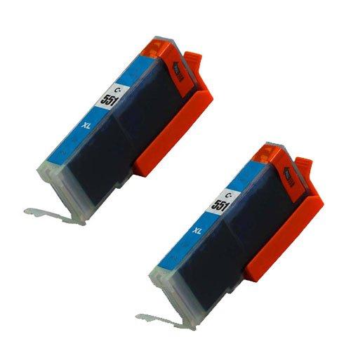2 Stück, Cyan, CLI 551 High Capacity Kompatible Tintenpatronen für Canon Pixma iP7250, MG5450, MG6350, MX925