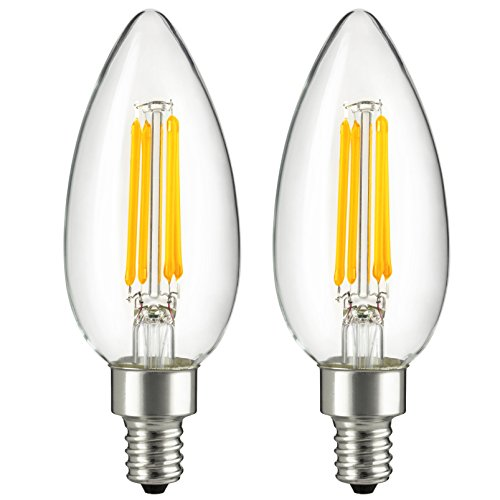 Sunlite CTC/LED/AQ/4W/E12/D/CL/27K 4W 40W Equivalent LED Vintage Antique Style Chandelier Torpedo Light Bulb Candelabra E12 Base Dimmable, 2700K Warm White, 2 Pack