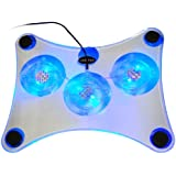 TRIXES USB CRYSTAL 3 Fans Cooler Pad for Laptop, Notebook, Xbox
