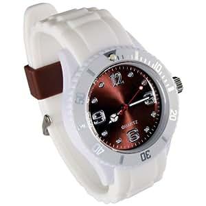 Montres couleurs tendances - MIXTES - 24 COLORIS ET PLUSIEURS TAILLES - Pochette cadeau LovaLuna offerte - Par LovaLunaTM - Blanc fond marron Taille S (cadran 3,8 cm)