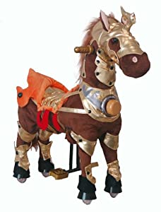 UFREE Action Pony, Riding Rocking Horse with Golden Armor, Action Toy, Iron Structure Cute Look, Go Without Battery, Height 35'' , 3-5 Years Old