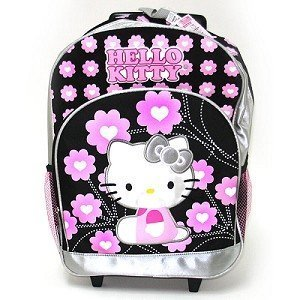 Sanrio Hello Kitty Rolling Backpack with Silver Trim