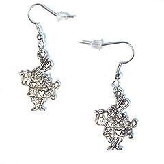 White Rabbit Alice In Wonderland Silver Plated Charm Dangle Earrings