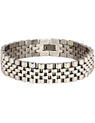 The Jewelbox 316L Surgical Stainless Steel Rhodium Watch Belt Style Men Bracelet