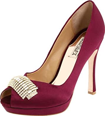 Badgley Mischka Platinum Women's Julia Open-Toe Pump, Wine, 6 M US