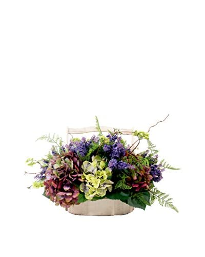 Creative Displays Mixed Floral Wood Basket, Multi