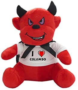Plush Devil Toy with I Love Columbo T-shirt (first name/surname/nickname)