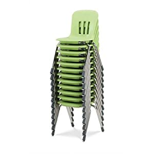 """Metaphor Series 12"""" Polypropylene Classroom Stack Chair Foot Type: Steel Glides, Seat Color: Black, Frame Finish: Chrome"""