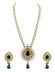 Single Line Reverse AD Necklace Set In Green Color