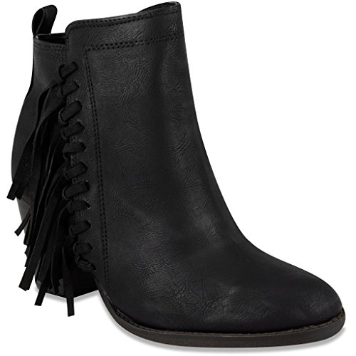 Sugar Womens VINE Bootie Ankle Boot with Fringe 7.5 Black (Cowboy Boot Repair Kit compare prices)