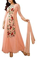Miss Ethnic Women's Net Unstitched Dress Material (Pink)