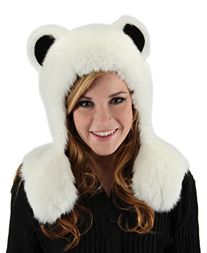 Snow White Polar Bear Hugs Hat Fun Fur Animal Claws Paws Ears Costume Accessorys