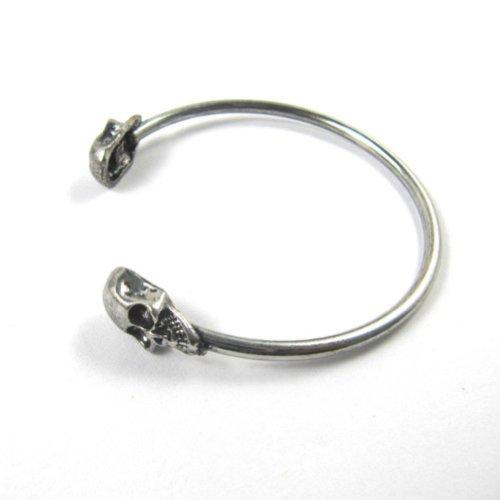 Zehui Silver Gothic Punk Vintage Skull Bracelet Bangle