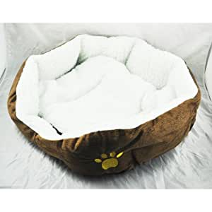SWT Brown Warm Indoor Soft Fleece Puppy Pets Dog Cat Bed House Basket with Mat waterproof