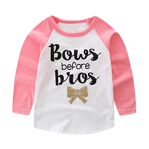 Toraway Cute Kid Baby Girls Boys Long Sleeve Letter Print T-Shirt Top Outfits (24 Month, Pink) (Kids Personalized Tee Shirts compare prices)
