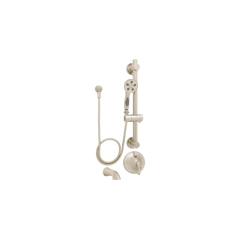 Speakman SM 7490 ADA PBN Caspian Anystream Handheld Shower with hose, Diverter Shower Valve, and ADA Adjustable Grab Bar, Brushed Nickel   Tub And Shower Faucets