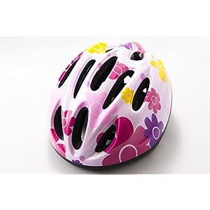 【SCGEHA】ヘルメット 子ども用 キッズ 幼児 自転車 45~56cm 軽量 ピンク ブルー シルバー 調整可能 (ペールピンク/花)