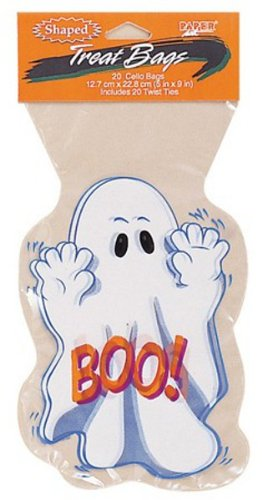 240 Halloween Spooky Ghost Cellophane Cookie, Candy and Favor Goodie Bags
