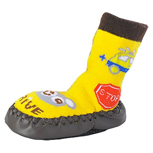 Tang Imp Cartoon Baby Cotone Antiscivolo Calze da passeggio scarpe bambini calzini per interni a mocassino Yellow Bear M(sole length 14cm)