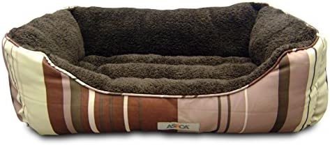 ASPCA Microtech Striped Dog Bed Cuddler, 28 by 20 by 8-Inch, Brown