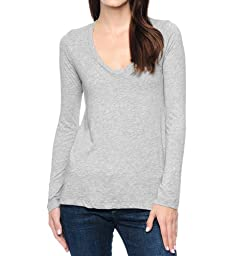Splendid Women\'s Light Jersey Long Sleeve Scoop Neck Tee Heather Grey, Small