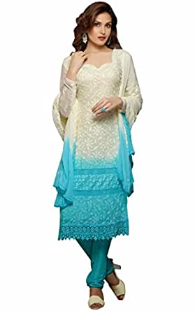Offer Shop Women S Georgette Salwar Suit Set 1474 White Sky Free Size Amazon In Clothing