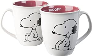 "Snoopy Keramik Henkelbecher Purple Inside, Motiv ""Sitting Dog"""