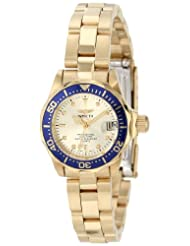 Invicta Watches, Women's Pro Diver Light Gold Dial 18k Gold Plated, Model 4610