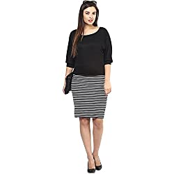 Black and White Kinit Cotton Strip Dress for Women