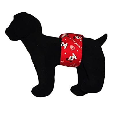 Barkerwear Male Dog Diaper - LIMITED EDITION: I Woof You Washable Belly Band Male Wrap for Housebreaking, Male Marking and Incontinence