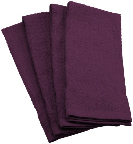 Dii 100% Cotton, Soft, Machine Washable, Everyday Kitchen Basic Waffle Terry Towel Set Of 4, Eggplant front-1087766