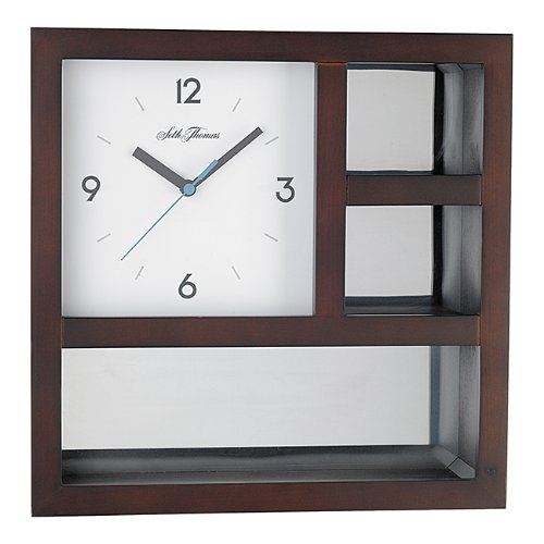 Seth Thomas Gallery White Dial Brown Cherry Finish MDF Box with Mirrored Panel Wall Clock