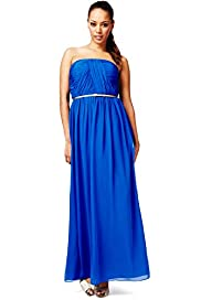 Strapless Pleated & Ruched Maxi Dress with Belt