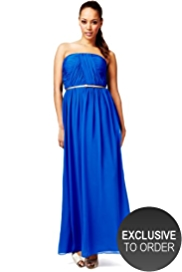 M&S Collection Strapless Pleated & Ruched Maxi Dress with Belt