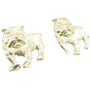 Mens 10k Yellow gold Bull dog stud earring ELMI43