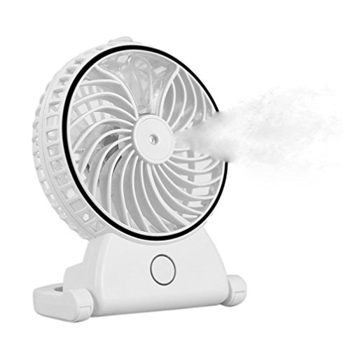 Welltop Table Fans Portable Desktop Humidifier Fan Handheld Fans Rechargeable Cooling Misting Fan Personal Cooling Humidifier (White)